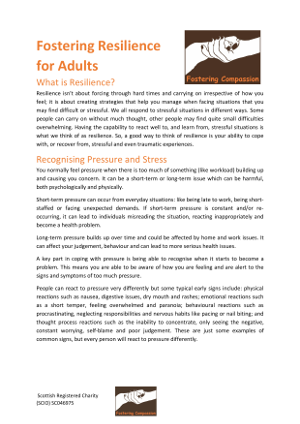 Fostering Resilience - For Adults